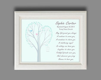 Personalized Baptism Gift - Christening Gift - Childs Baptism Nursery Art - Baby Boy Or Girl Personalized Print