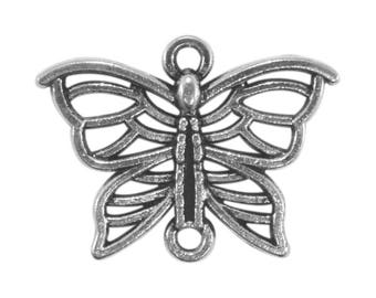 Set of 12 connectors co069 antiqued silver Butterfly pendant