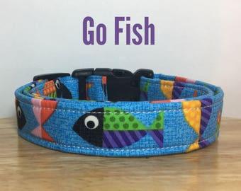 """Blue Fish Ocean Dog Collar, Dog Collar for Boys """"Go Fish"""""""
