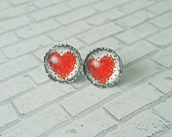 Heart Earrings, Heart Stud Earrings, Stainless Steel, Stud Earrings, Post Earrings, Hypoallergenic, Dot Earrings, Heart, Valentine's Day