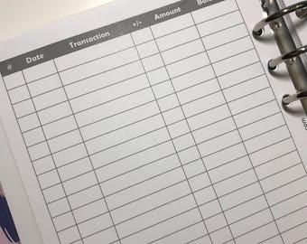 Checkbook Register - Planner Inserts - Ledger