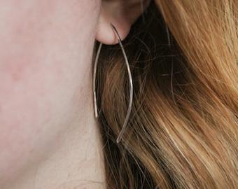Sterling Silver Threader Earrings, Wishbone Earrings, Open Earrings, Silver Earrings, Minimalist Earrings, Minimalist Jewelry, Hoop Earrings
