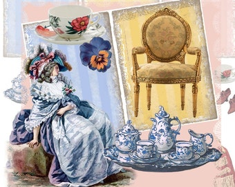 Tea With Marie Digital Collage Sheet - Marie Antoinette - Backgrounds Plus Design Elements - Pastel Stripes - Download - Printable
