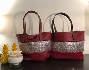 Red sequin faux leather bag