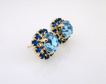 Swarovski Blue Earrings, Blue Earrings, Swarovski Earrings, Crystal Blue Earrings, Crystal Stud Earrings, Stud Earrings, Blue Stud Earrings