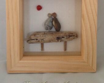 Framed pebble Art of 'The Lovers'