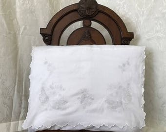 Vintage antique embroidered pillow case/ cushion cover late Victorian/ Edwardian 19th century/ 20th century #3