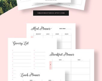 Meal Planner Printable, MAMBI Big Happy Planner, Price list Planner Insert, Grocery List Planner Insert Printable, MAMBI insert Meal Tracker