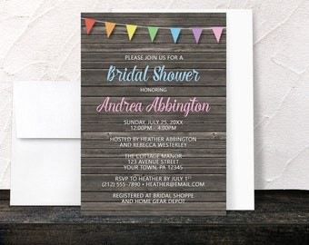 Rainbow Bridal Shower Invitations - Rustic Wood and Colorful Bunting Flags - Blue Pink Brown with Rainbow Flags - Printed Invitations