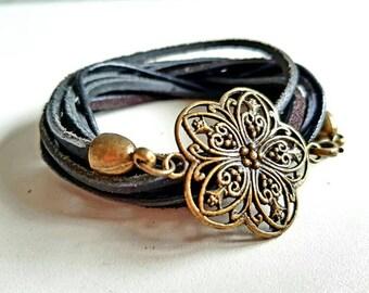 Leather Wrap bracelet ~ cherry blossom ~ black