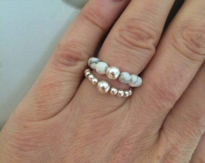 WHITE HOWLITE STRETCH ring with Sterling Silver or 14k Gold Fill bead