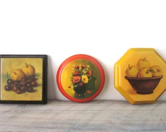 Small Vintage Wall Hangings Set of Three Instant Collection