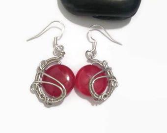 Pink Agate Wire Wrap Earrings/ Dangle Earrings/ Drop Earrings/ Wire Wrap Jewelry/ Wire Wrapped Earrings/ Agate Earrings/ Gemstone Earrings