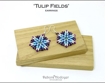 Bead pattern beaded earrings Tulip Fields with Storm Duo beads, fire polished, seed beads, O beads