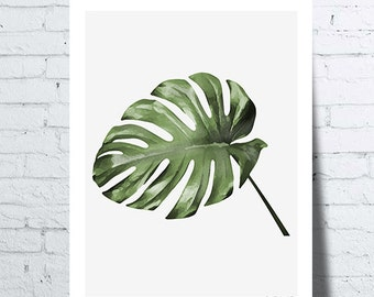 Shows Journal of Monstera (Monstera leaf), tropical wall art, photo, poster, home décor, botanical decor