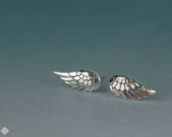 Silver Wing Earrings, Sterling Silver Jewelry, Feather Post Earrings, Ready to Ship