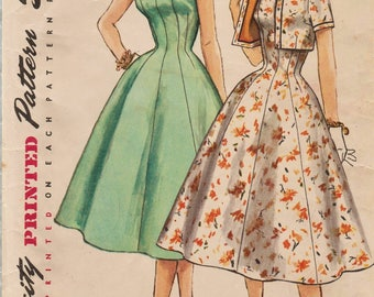 Simplicity 1534 / Vintage 50s Sewing Pattern / Dress And Bolero Jacket / Size 14 Bust 32