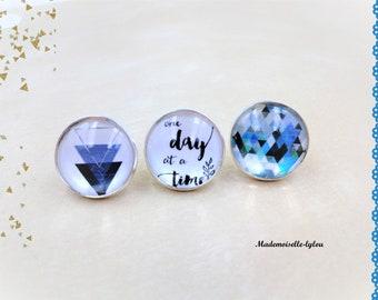 Blue earrings, small blue earstuds, matching earrings, gift for girls, geometric jewellery, white bleu earrings, glass dome