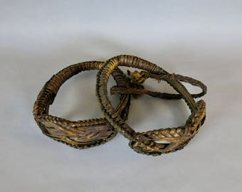 Antique Chinese Woven Bamboo Rattan Stirrups