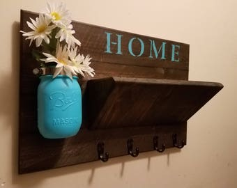 Key Holder , Rustic Home Decor, Key Rack  ,Home Sign,  Mail Holder, Mail Organizer,  Home sign,House warming, Hostess gift, Farmhouse decor