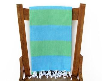 Turkish Beach Towel Yoga Towel Turquoise Boat Towel Turkish Bath Towel Throw Blanket Fouta Sarong Pareo Beach Wrap Green SEAGRASS PESHTEMAL