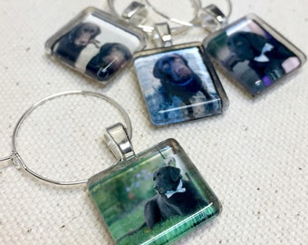 Custom Photo Glass Wine Charms - Fit Coffee Mugs, Tea Cups or Wine Glasses - Use your images to personalize for Mother's Day l Scrabble Size