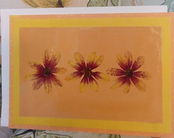 Pressed flower greeting card (blank) Coreopsis