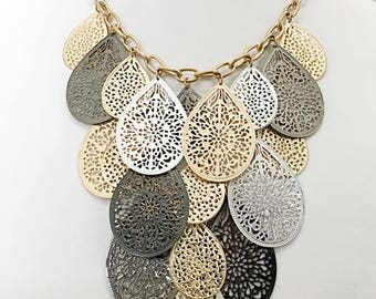 Gold, Silver and Dark Gray Tear Drop Filigree Necklace / Bib Necklace .