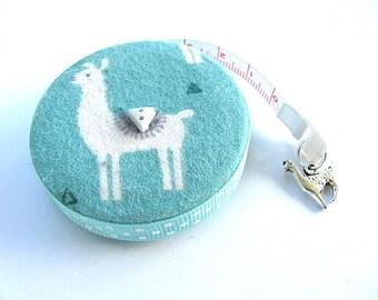 Measuring Tape Llamas on Blue Sage Retractable Tape Measure