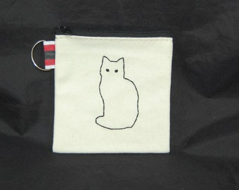 Black Cat Embroidered Pouch