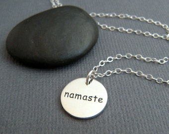 silver namaste necklace. small round sterling inspirational jewelry. inspiring quote motto affirmation. simple word pendant. zen yoga charm