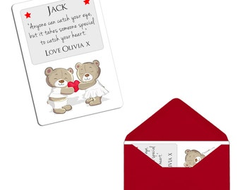 Personalised Valentines Day Boyfriend Girlfriend Sentimental Wallet Metal Card With Envelope - Gift