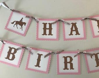 Pony Birthday Banner/ Horse Banner/ Equine Garland/ Dressage/ Pink/ Brown/ Horse Theme/ Equestrian birthday Banner