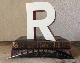 "Reclaimed Metal Sign Capital Letter ""R"" Wedding,Industrial Salvage, Home Decor, Office Decor, Industrial Decor"