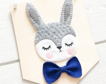Bow tie rabbit banner, Wooden wall hanging