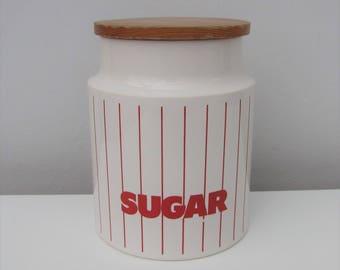 Vintage Hornsea Red Stripe Sugar Jar/Canister/Container 1980s Retro Kitchenalia Ceramic John Clappison