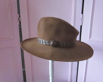 "1990s Warm Chestnut Brown Western Hat ""Made in Texas"" by ""Dobbs,"" S"