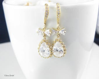 Gold Earrings, Crystal Earrings, Cubic Zirconia Bridal Jewelry, Wedding Jewelry, Bridesmaid Earrings, Bridesmaid Jewelry, Dangle earrings