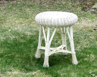 Wicker Stool Rattan Side Table Chippy White Plant Stand Woven Willow Ottoman Beach Cottage Patio Decor
