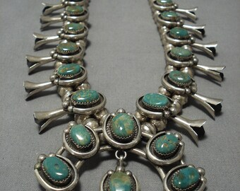 Quality!! Vintage Native American Navajo Sterling Silver Green Turquoise Squash Blossom Necklace
