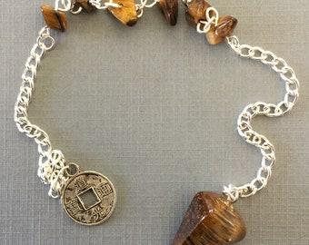 Tigers Eye Pendulum with Coin Charm Reiki ~ Chakra ~ Metaphysical ~ Dowsing