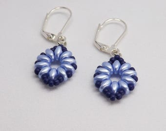 Beaded Earrings in Lt Sapphire Blue with Sapphire Blue Border SKU: ER1025
