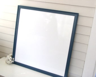 Executive WHITEBOARD Dry Erase Boys Extra Large MAGNETIC Bulletin Board 32x32 Sophisticated Office Memo Board Handmade Wood Frame Slate Blue