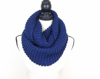 Navy Infinity Scarf Hand Knit Blanket Scarf