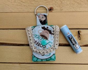 Coffee chapstick holder, chapstick keychain