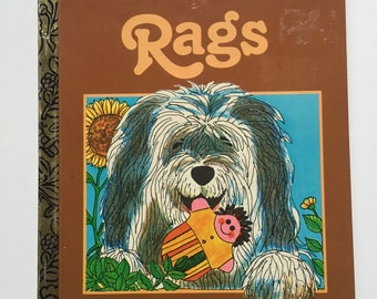 Vintage 1970s Children's Little Golden Book - Rags -by Patricia Scarry-illustrated by J.P. Miller - Rags the dog and his grocery shop owners