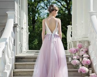 Wedding dress, unique wedding dress, open back wedding dress, ballerina wedding dress, tulle wedding dress, backless bridal gown - Daphne