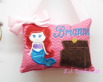 Mermaid Tooth Fairy Pillow - Name Embroidered - Girls Tooth Fairy Pillow