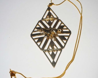 Stunning Goldtone Diamond Shaped Pendant with GP Full Dig Greyhound Dog, Necklace
