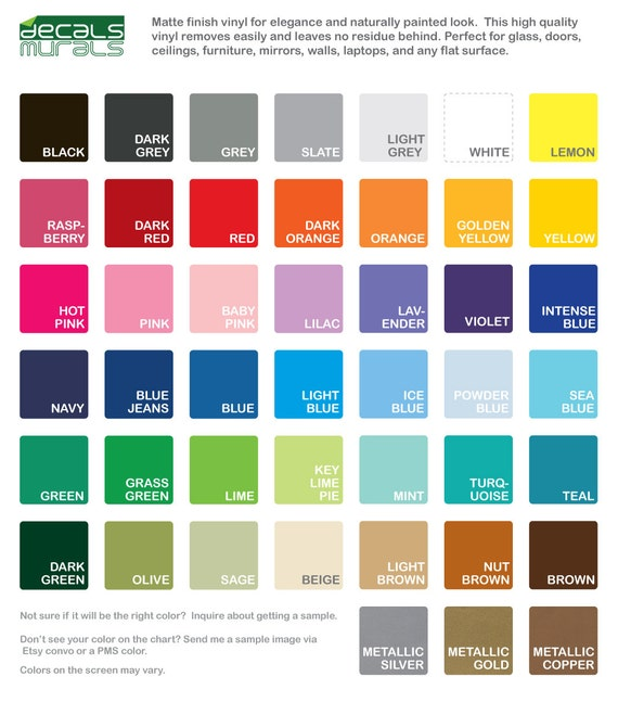 COLOR SAMPLES Vinyl For Wall Decals From Murals